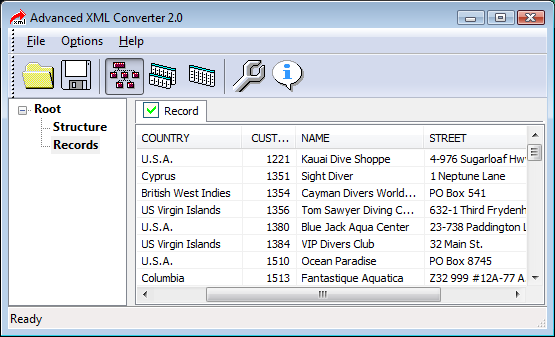 Powerful XML converter quickly turning XML files into HTML, XLS, CSV, SQL, DBF